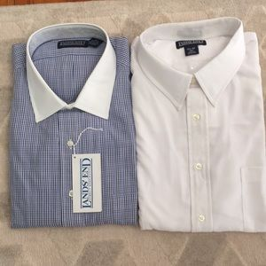 NWT. 2 Lands' End Spread Collar Dress Shirts Tall!